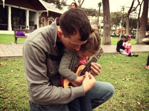 playing guitar with daddy