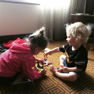 Playing with magnet blocks in the hotel