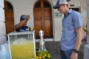 Buying some fresh squeezed orange juice